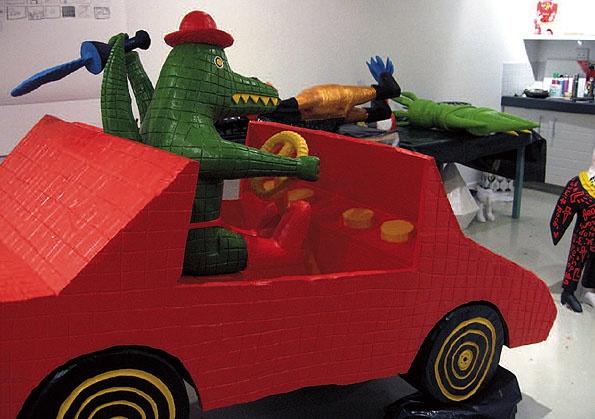 Cameron Platter, Crocodile in Car Crash (studio view) . From http://www.brotkunsthalle.com/#