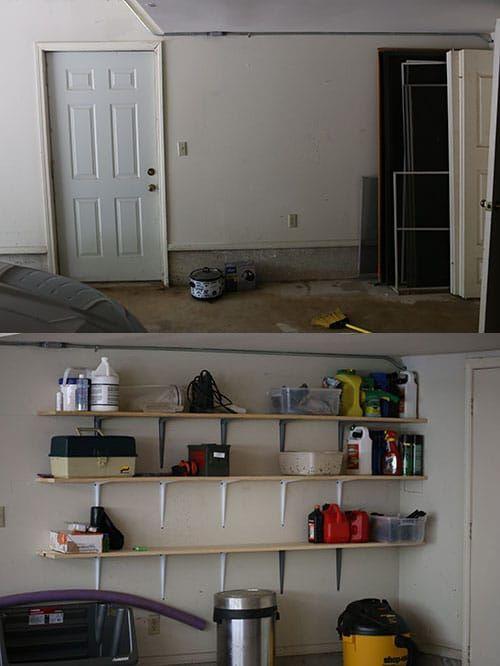 garage wall with homemade shelves
