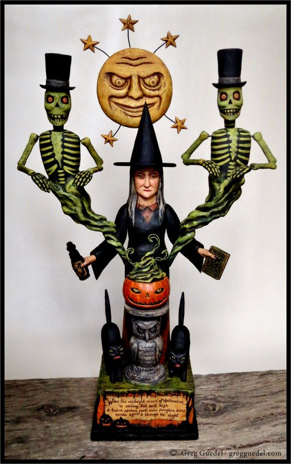 Vintage Halloween inspired wood carving by Greg Guedel  -  love this! could make a poor girl's copy in papier mache