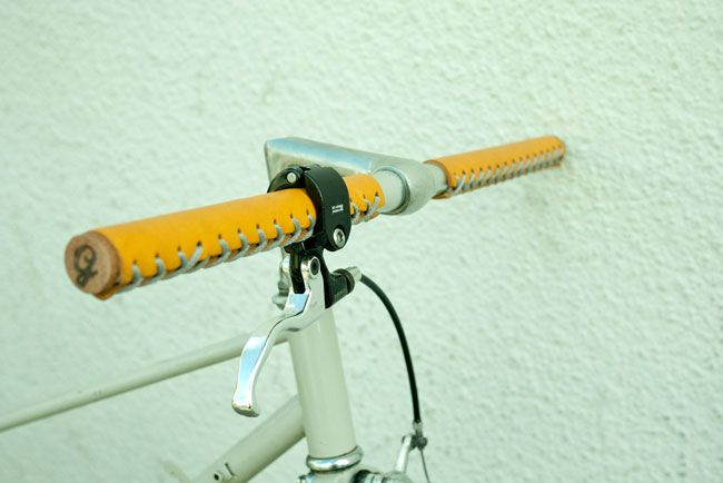 Gropes, unique lace-up leather handlebar grips.