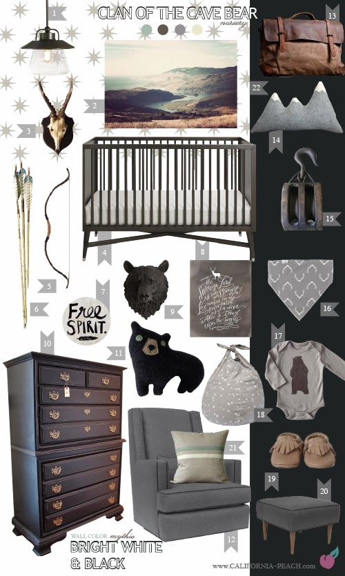 Clan of the Cave Bear Nursery Theme - This room would be perfect for a little mountain man and, although not feminine, this room could even work for a little girl too.
