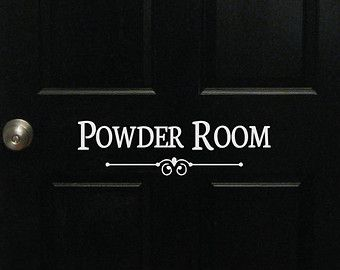 Powder Room Door Or Wall Decal   Decorative Powder Room Sign Bathroom Bath  Room Guest Shower
