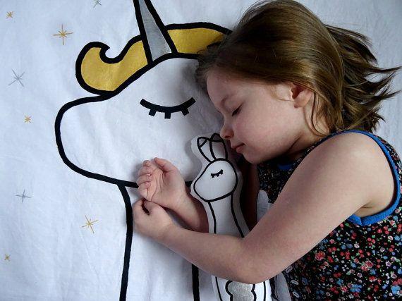 Handpainted Sleepy Unicorn Blanket Cot by WildRabbitIreland
