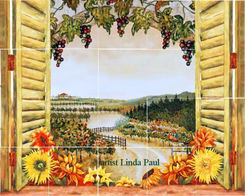 Sunflower themed Kitchen | Sunflowers Vineyard Backsplash Tile Mural for Country Kitchens