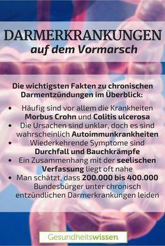 Man hört von solchen chronischen Darmerkrankungen und Darmentzündungen immer häufiger. Menschen klagen über Durchfall und Bauchschmerzen und sie werden von einem Arzt zum nächsten verwiesen. Tatsächlich sind die häufigsten chronischen Darmkranheiten Morbus Crohn und Colitis ulcerosa nicht leicht zu diagnostizieren. Die Symptome kommen immer wieder in Schüben, doch die Krankheit bleibt. Die wichtigsten Infos dazu haben wir in einem Beitrag zusammengetragen.