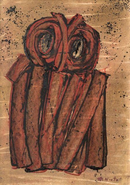 """""""Lechuza"""" Amalia Nieto (Uruguay) técnica mixta sobre papel, 15,7 x 11,8 in., 40 x 30 cm."""
