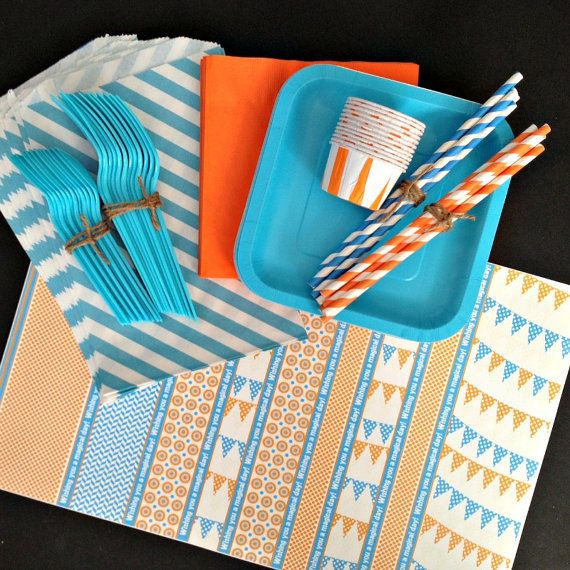 2nd birthday orange party blue party birthday supplies party supplies