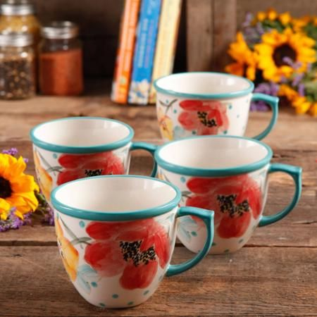 The Pioneer Women Flea Market Vintage Bloom 16 oz Coffee Cup, Set of 4 - Walmart.com: