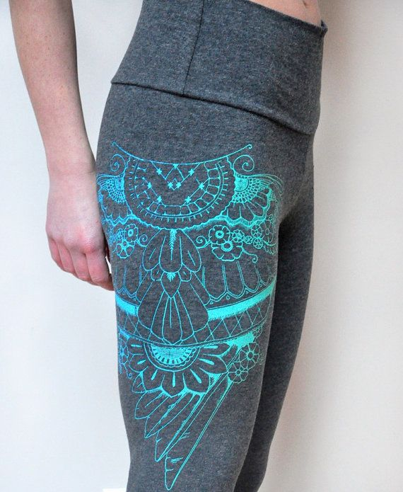 Henna Wing Print, Eagle Wing Print,  Bamboo Leggings, Printed Tights, Charcoal Leggings, Turquoise Ombre Print, Henna Design