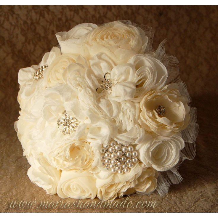 Fabric bridal bouquet, Wedding bouquet, by M.aria's Handmade fabric bridal bouquets
