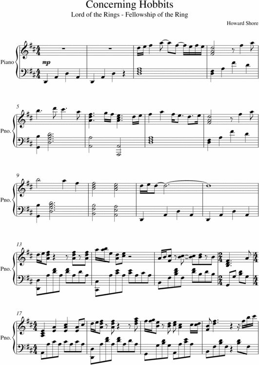 Piano score or sheet music for Concerning Hobbits (or The Shire Theme) By Howard Shore<--I can play this on violin and I feel so talented right now. XD