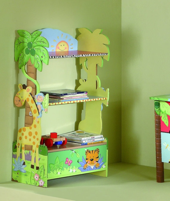Kids Furniture Hand Painted Wooden Bookshelf  by teamsondesign, $134.00