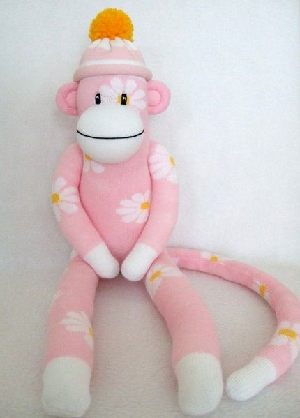 Flower sock monkey