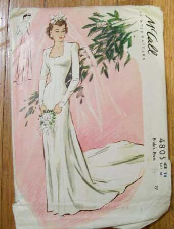 1940s wedding dress pattern. THis is a gorgeous dress even now.