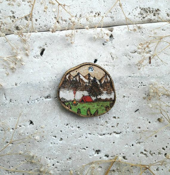 Camp life decoration  Made with use of pyrograph and watercolor painted on wood slice  Representing a camp tend in a mountains landscape   #travel #camp #firecamp #art #painting #woodburn