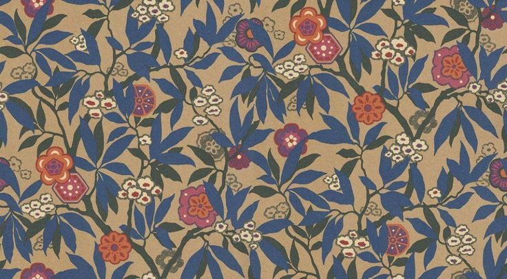 Primavera (PR105) - Albany Wallpapers - Exclusive to wallpaperdirect this stunning colourway of the Sanderson design. Based on a 1926 document, with a rich gold lustre background, vivid cobalt blue leaves and fuchsia and orange highlights. Wide width. Please request sample for true colour.