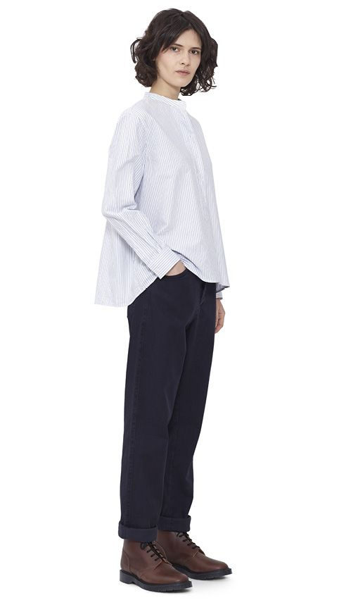 WOMEN AUTUMN WINTER 15 - White/blue cotton Swing Shirt MHL, indigo cotton Peak Back Work Trouser MHL, brown leather Derby Boot MHL