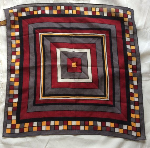 Vintage Square Geometric Pattern  100% Wool Made in Japan Hand