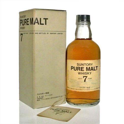 サントリー ピュアモルトウイスキー 7年 ホワイトラベル 43% 500ml 特級・従価税表記 白州蒸留所 箱付きHAKUSHU Pure Malt Whisky 7 years old White Label 43% 50cl distilled around 1978-1982 by SUNTORY