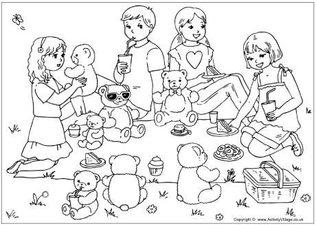 Teddy bears picnic colouring page. Perfect for asking who and where questions.