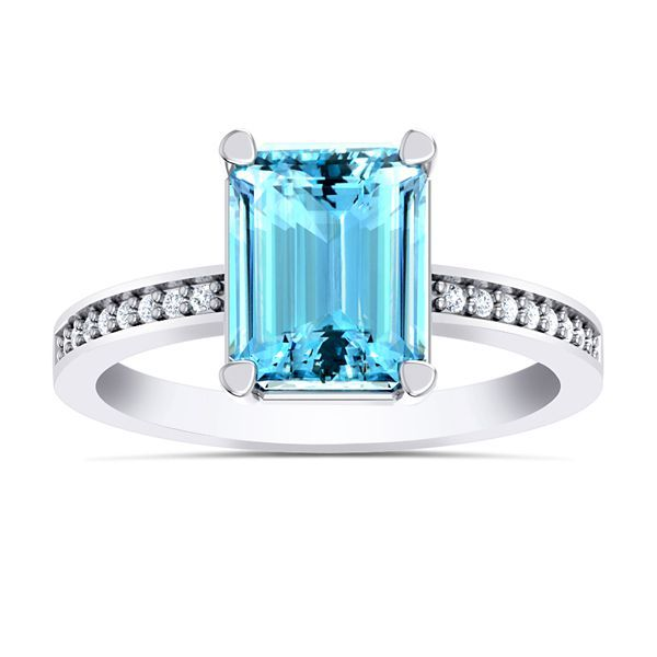 Ziege Diamond and Aquamarine Ring #AquaStone #Ring #WeddingRing