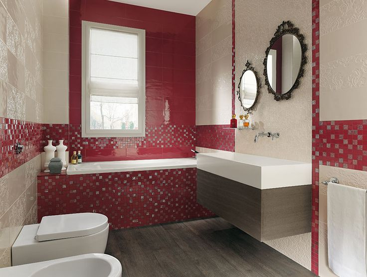 Bathroom Red bathroom, red mosaic tile wall white porcelain wall window corner