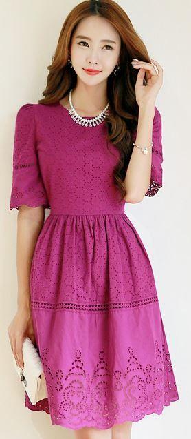 StyleOnme_Crochet Lace Half Sleeve Flared Dress #violet #purple #lace #elegant…