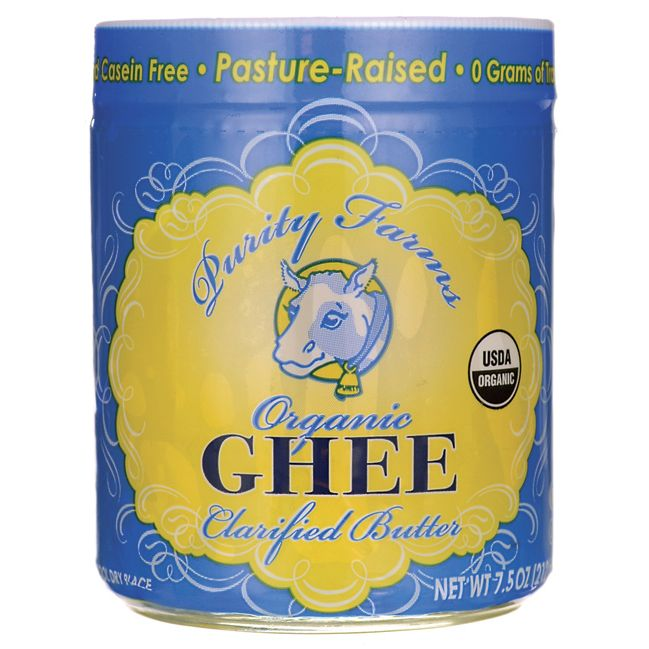 Purity Farms Organic Ghee Clarified Butter 7.5 oz Solid Oil - Swanson Health Products 1 tsp is 45 calories