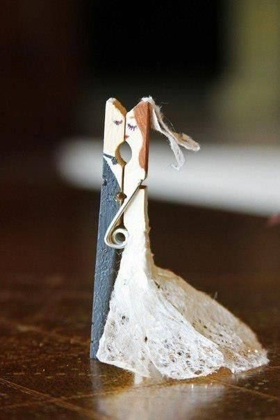 Bride and groom clothespin. Can put flowers in her 'hand' also