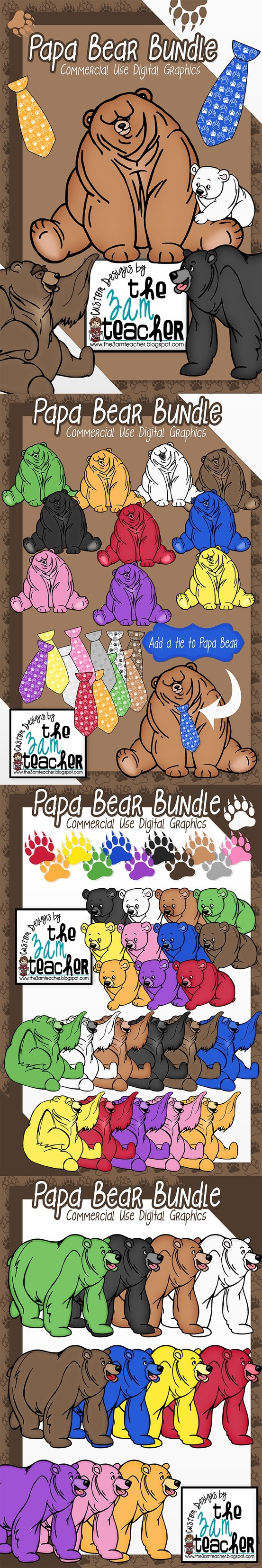 Papa Bear Clip Art Collection by The 3AM Teacher! Great for Father's Day creations. Over 70 images $