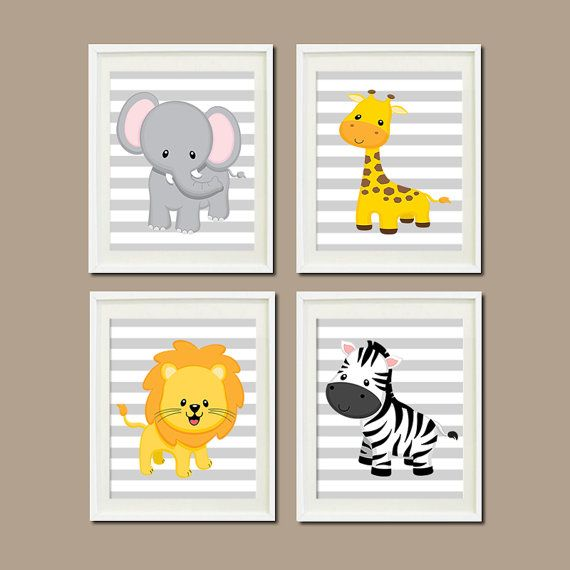 JUNGLE Nursery Wall Art ELEPHANT Giraffe Lion by LovelyFaceDesigns,