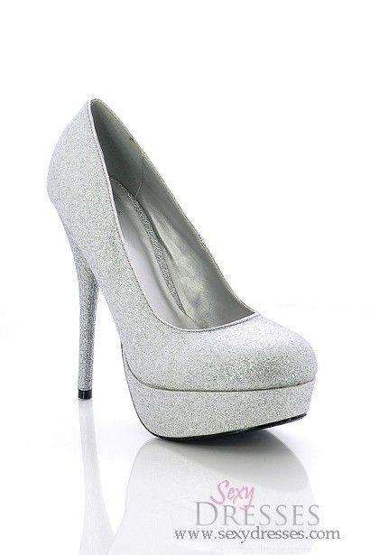 Pure Seduction Glittery Silver High Heel Platform Pumps