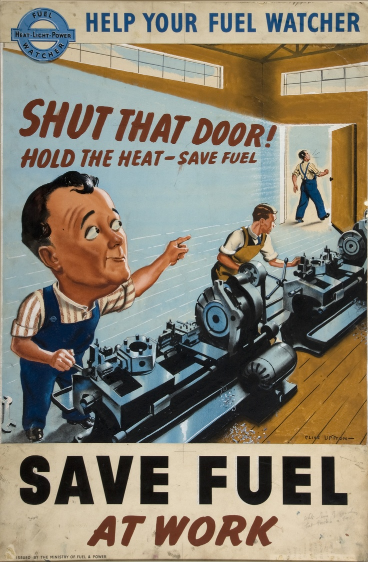 """Shut that Door"" UK Artist:  Clive Uptton INF3-182 c. 1939-1946"
