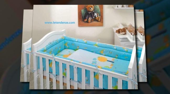 Paracolpi lungo per tutto il lettino neonato. Paracolpi 360 cm.