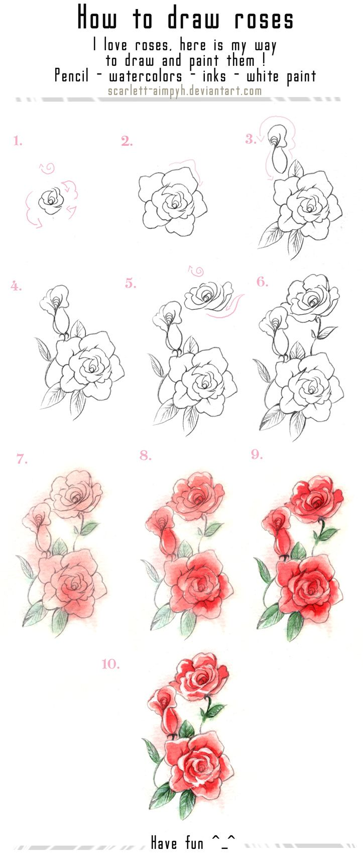 122 - Draw and paint roses by Scarlett-Aimpyh.deviantart.com on @deviantART