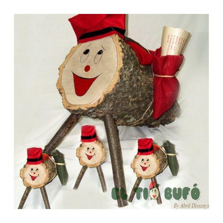 Caga Tió con Barretina el tío de nadal, para divertirte con las tradiciones catalanas, caga tio i cop de basto, disfruta de la navidad en catalunya. Tiós de caras sonrientes el tió bufó  Tamaño:50x22 cm