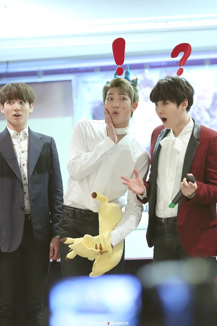 yoongi and joon with the headbands, and jungshook, who doesn't need one to be shocked af xD