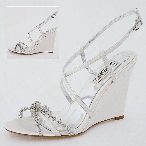 Badgley Mischka Giselle White Bridal Shoes   Wedge Bridal Sandals
