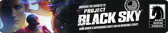 What--or who--is Project Black Sky? That's the question Dark Horse Comics' superheroes must unravel this summer and into the fall, and you can join in the excitement right here!   Captain Midnight, X, Ghost, Brain Boy, Occultist, Blackout, and Skyman find themselves drawn further into the mystery behind the covert organization known as Project Black Sky: plus, a new character will be introduced!  http://tomatovisiontv.wix.com/tomatovision2#!comics/cfvg
