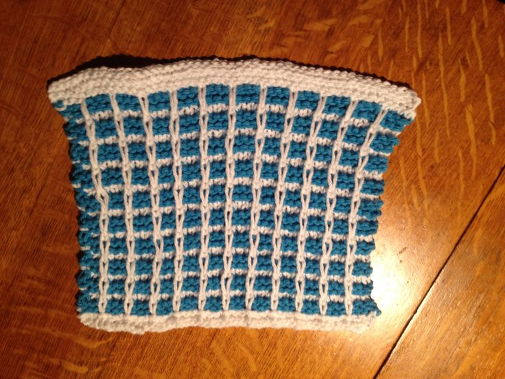 Turquoise & white basket weave cloth