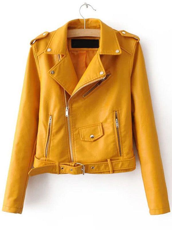 bf8126b46da22 Chaqueta motera cuero sintético cremallera cinturón - amarillo-Spanish  SheIn(Sheinside)