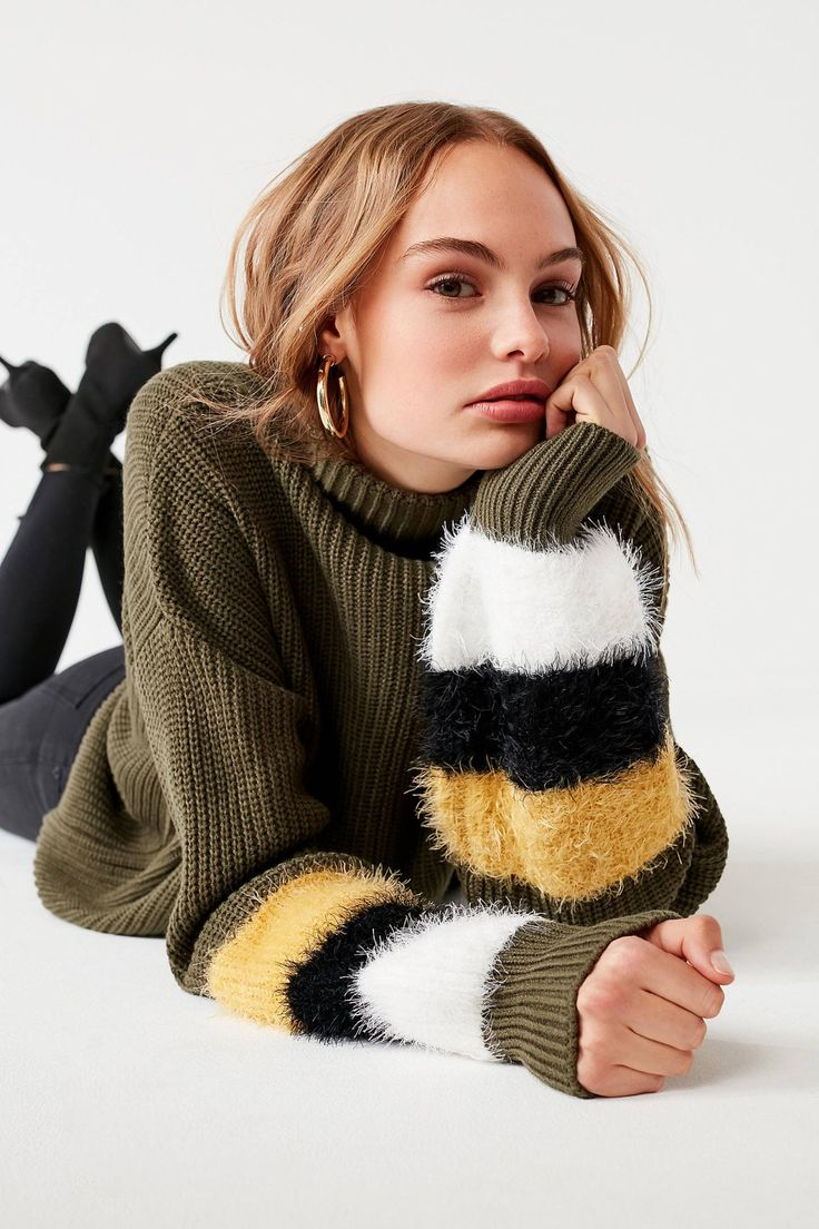 Haute Rogue Fuzzy Sleeve Turtleneck Sweater | Urban Outfitters