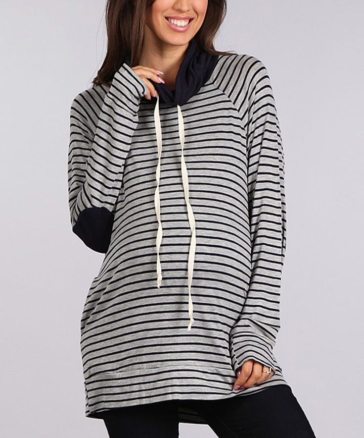 Take a look at this Heather Gray & Navy Elbow Patch Maternity Hoodie today!