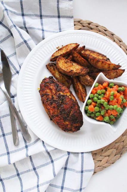 Niedzielny obiad: Grillowany kurczak z marchewką z groszkiem i idealne pieczone ziemniaki - creative in kitchen!