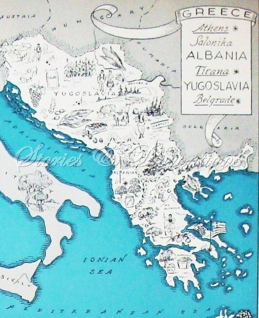 Greek Isands  Vintage Map of Greece  Map Art by StoriesDivinations, $24.00