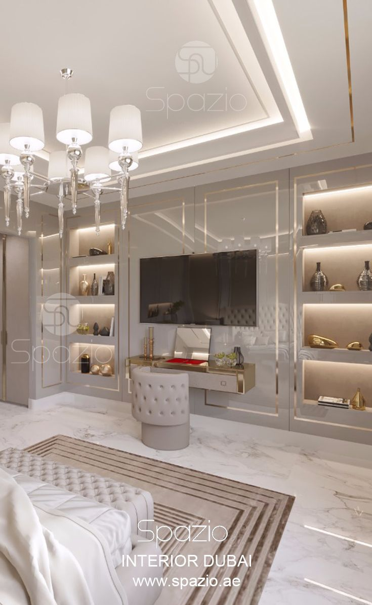 Master bedroom decor for couples in large dubai home was for Modern home decor dubai