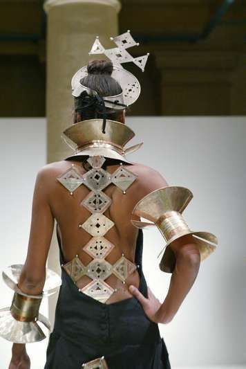 Tribal inspiration on the Oumou Sy runway.                                                                                                                                                                                 More