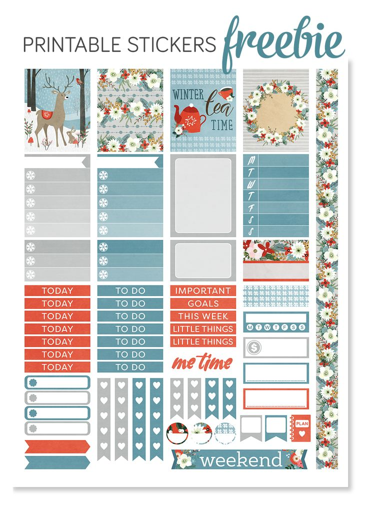 Free Printable Cozy Winter Planner Stickers from Design Lovely Studio {subscription required}