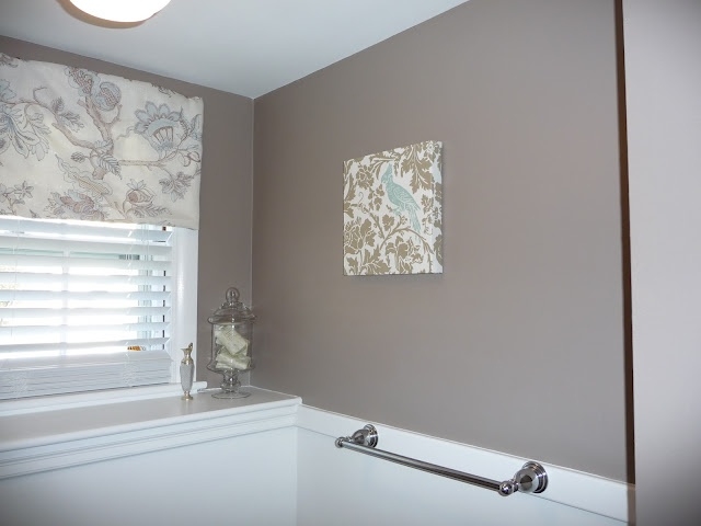 Wall color, Benjamin Moore Weimaraner, love the shade fabric!