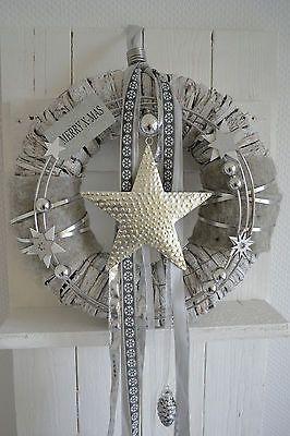 Türkranz / Wandkranz Weihnachtskranz weiß/silber 35cm Stern silber, Merry X-MAS
